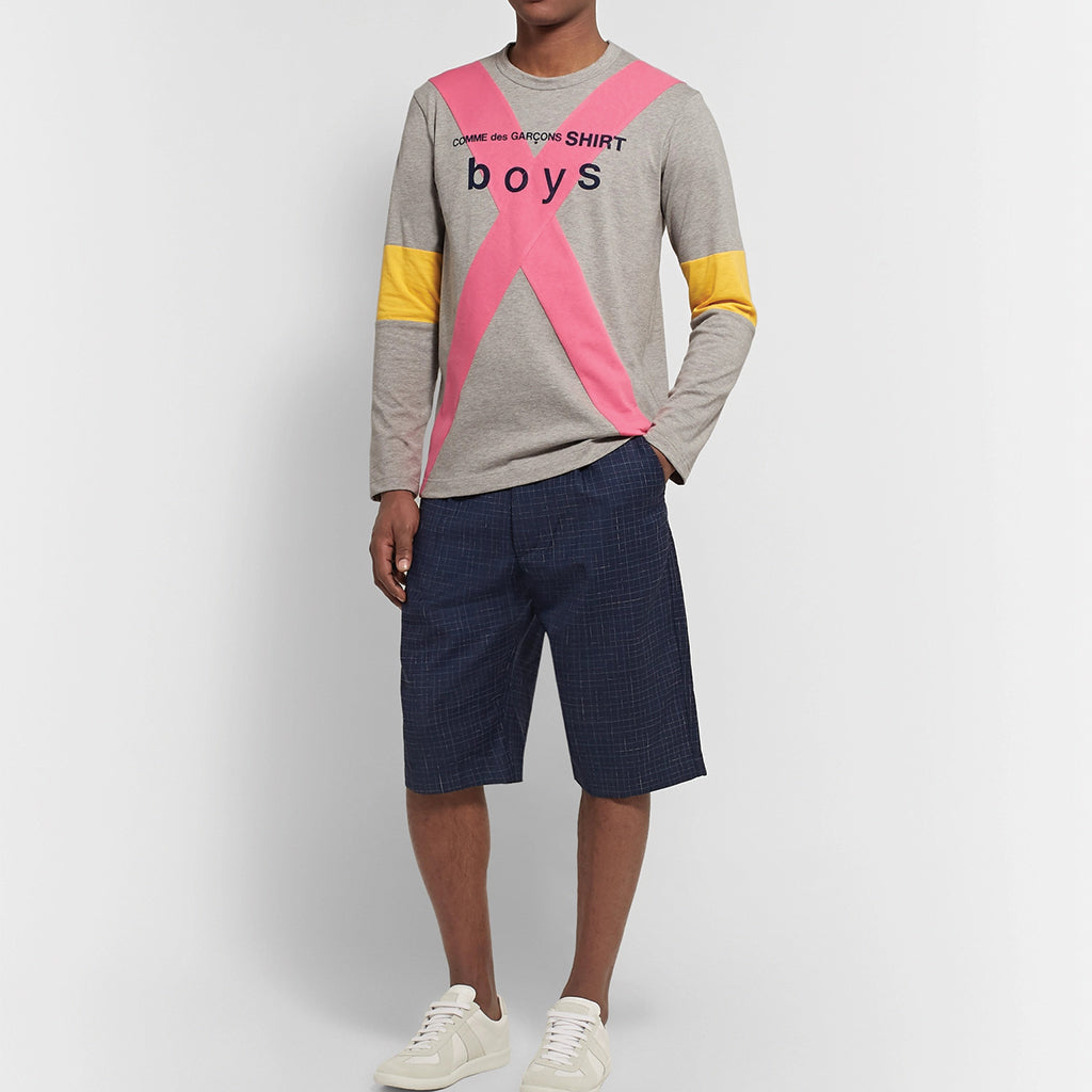 COMME des GARCONS SHIRT Boys Logo Longsleeve Grey / Pink / Yellow