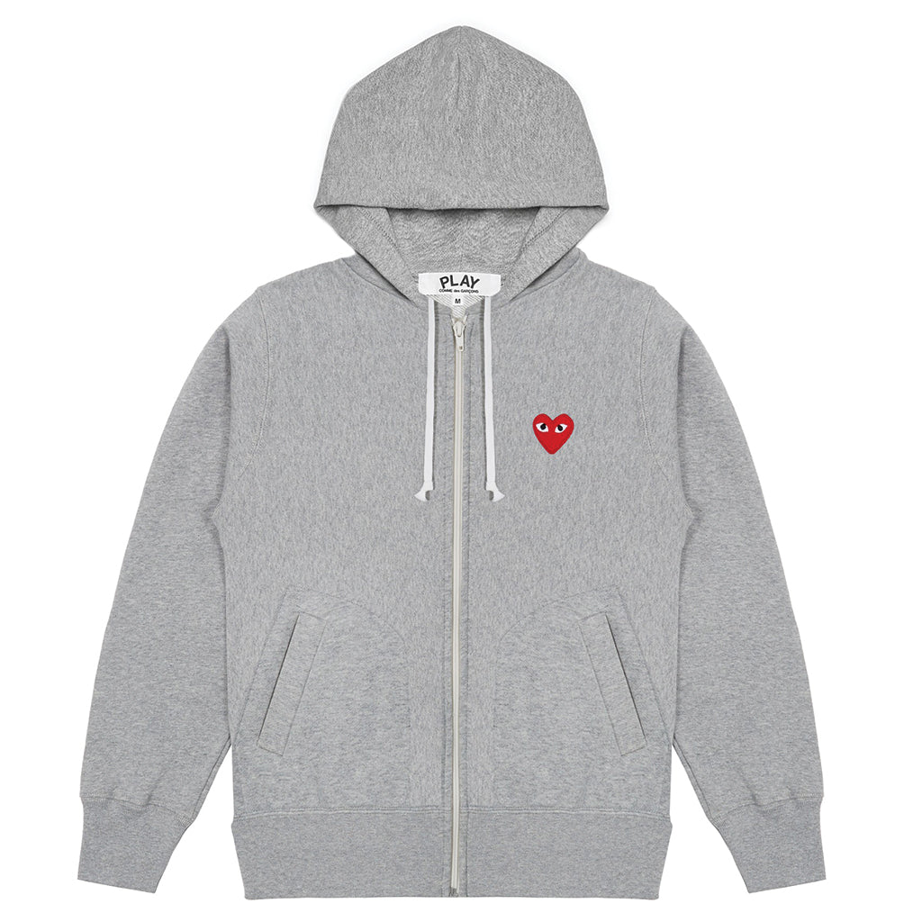 COMME des GARCONS PLAY Hooded Sweatshirt With 5 Hearts Grey