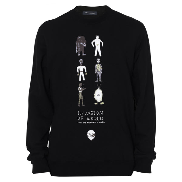 JohnUNDERCOVER Invasion Graphic Sweater Black