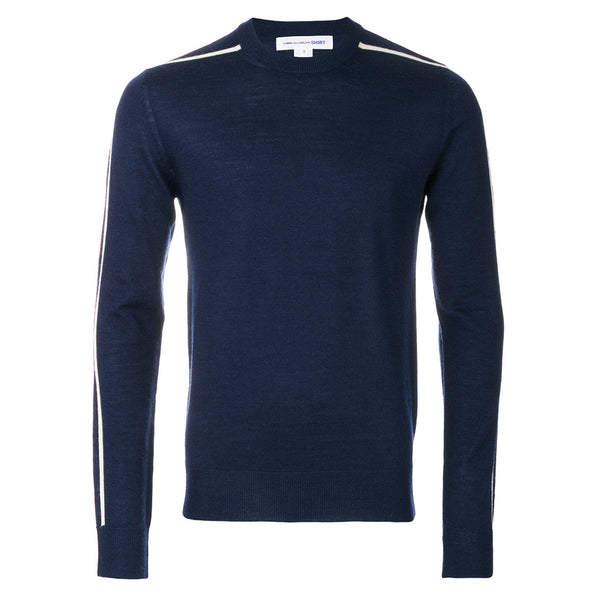Knitted Sweater With Contrast Stripes Navy