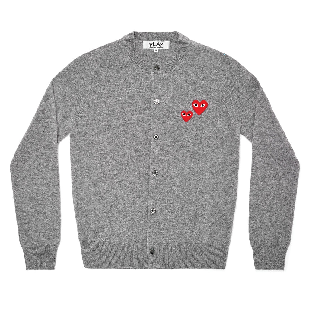 COMME des GARCONS PLAY Double Heart Cardigan Grey for Ladies