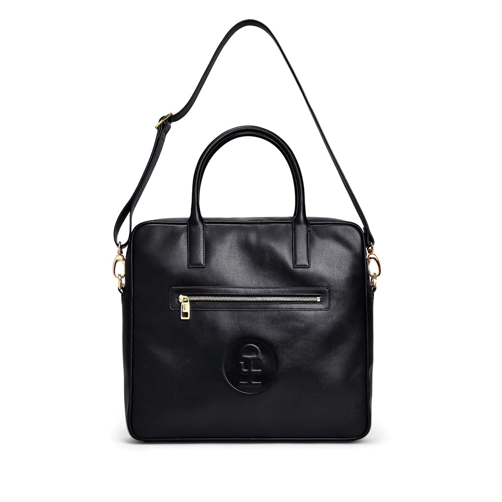 Honey Fucking Dijon Leather Travel Tote Black