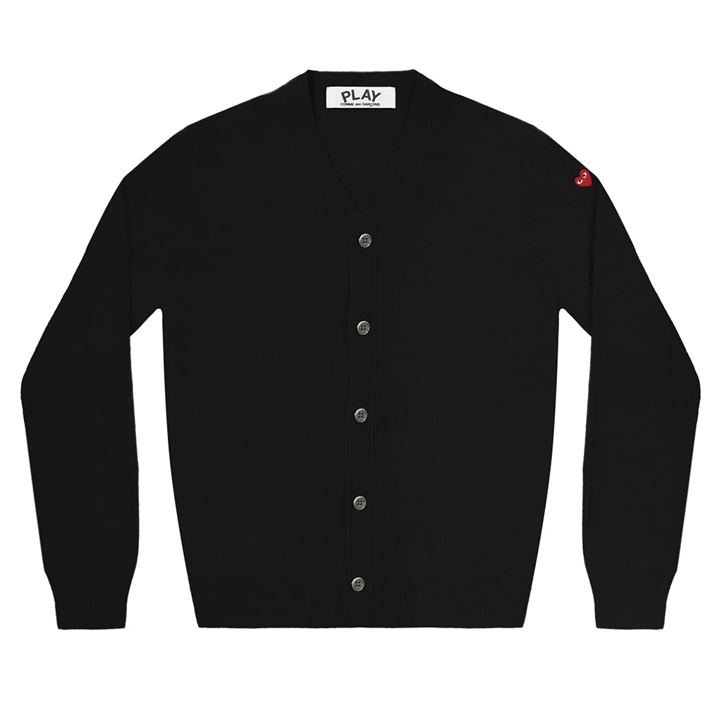 COMME des GARCONS PLAY Double Heart Cardigan Black for Men