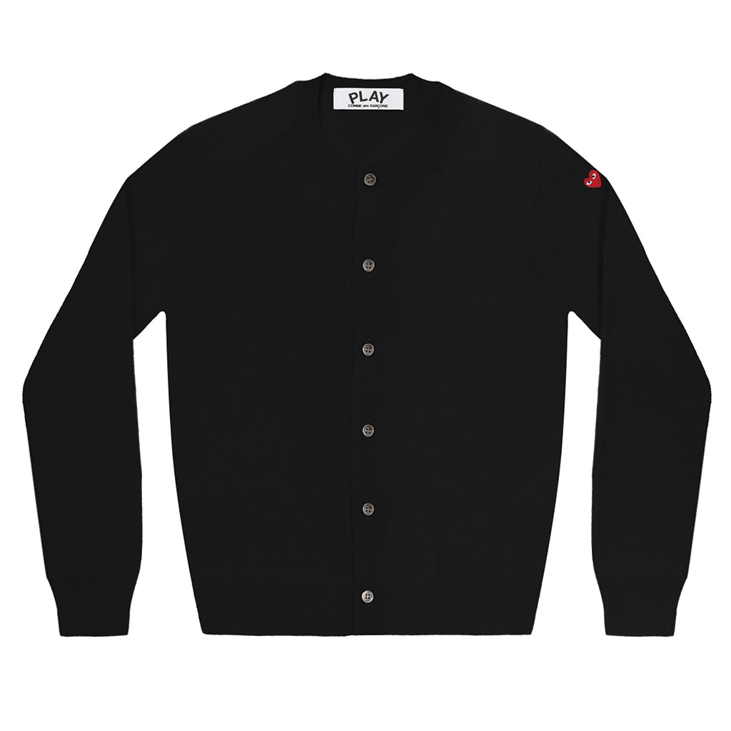 COMME des GARCONS PLAY Little Red Heart Cardigan Black for Ladies
