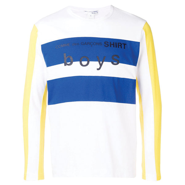 COMME des GARCONS SHIRT BOYS Striped Logo Longsleeve White / Navy / Yellow