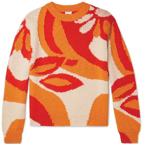 Dries van Noten Manolo Knitted Sweater Ecru / Orange