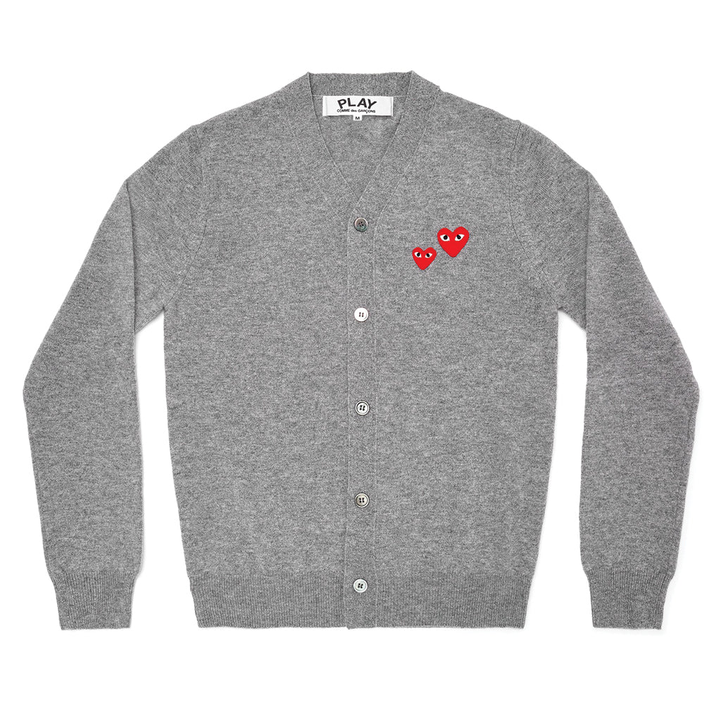 COMME des GARCONS PLAY Double Heart Cardigan Grey for Men