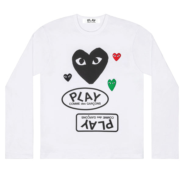 COMME des GARCONS PLAY Multi Logo Longsleeve Black Heart