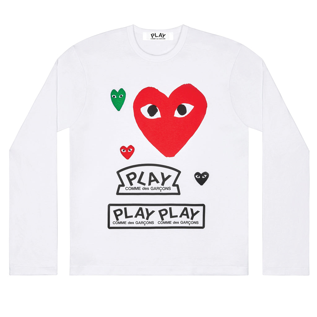 COMME des GARCONS PLAY Multi Logo Longsleeve Red Heart