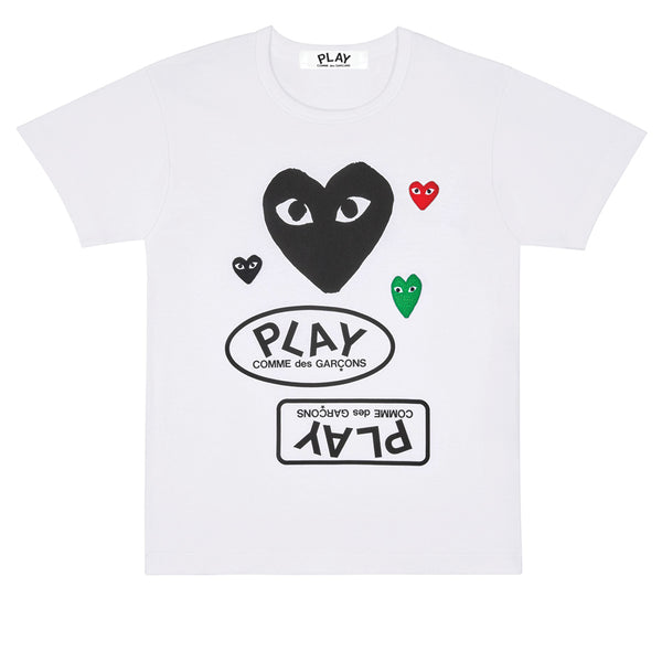 COMME des GARCONS PLAY Multi Logo T-Shirt Black Heart