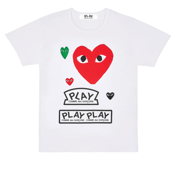 COMME des GARCONS PLAY Multi Logo T-Shirt Red Heart