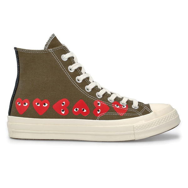 COMME des GARCONS PLAY x Converse Multi Heart Chuck Taylor All Star '70 High Khaki