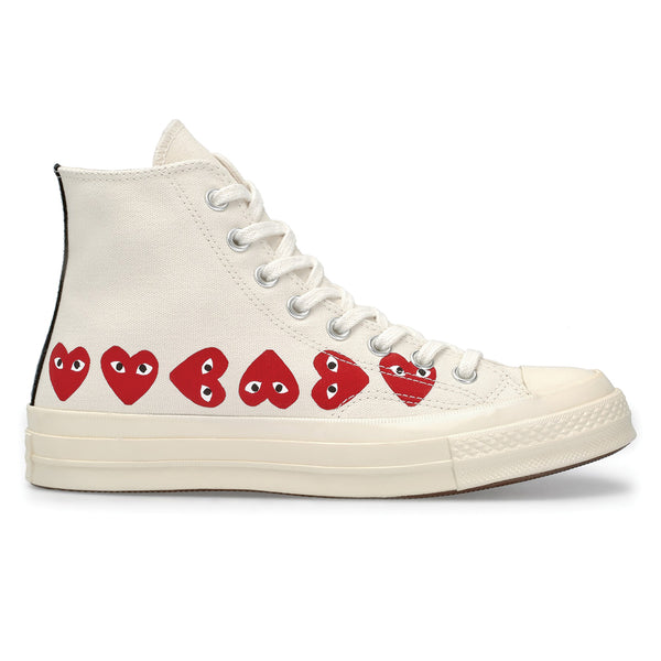 COMME des GARCONS PLAY x Converse Multi Heart Chuck Taylor All Star '70 High White