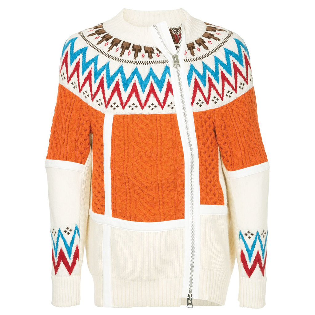 sacai Nordic Knit Blouson Off-White / Orange