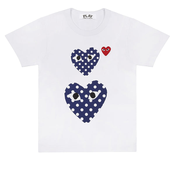 COMME des GARCONS PLAY Polka Dot Double Heart T-Shirt