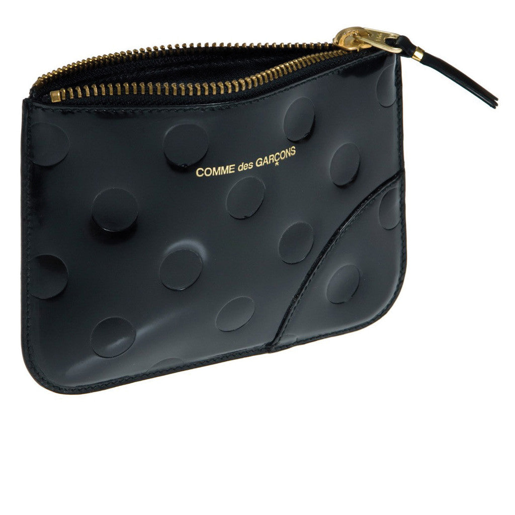 Polka Dot Embossed Leather Line Black SA8100NE