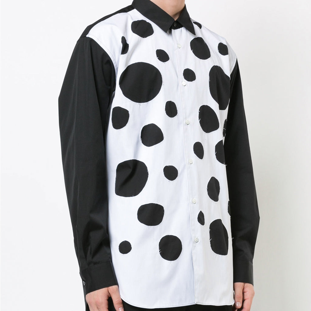 COMME des GARCONS SHIRT Polka Dotted Patchwork Shirt Black / White