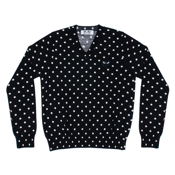 COMME des GARCONS PLAY Black Heart Polka Dot V-Neck Knitwear