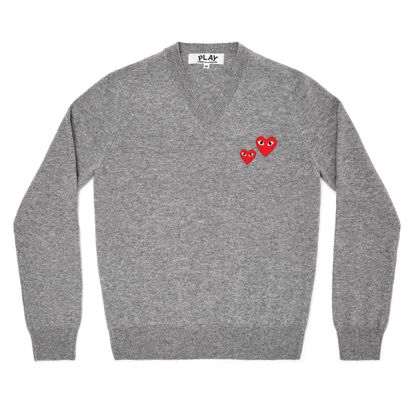 COMME des GARCONS PLAY Pullover Double Hearts Knit Grey