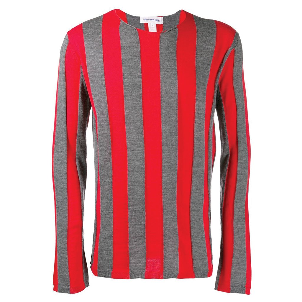 COMME des GARCONS SHIRT Striped Fashion Knit Red / Grey