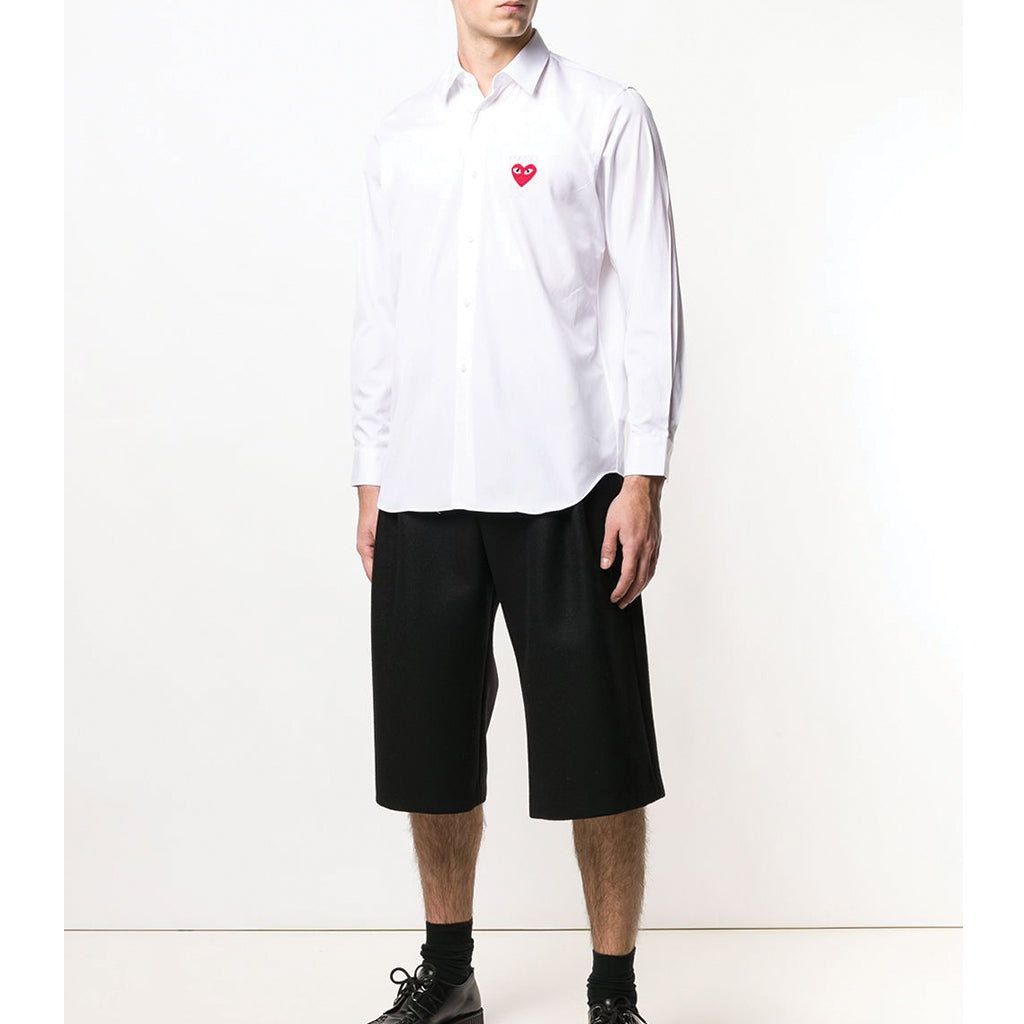 COMME des GARCONS PLAY Red Heart Shirt White