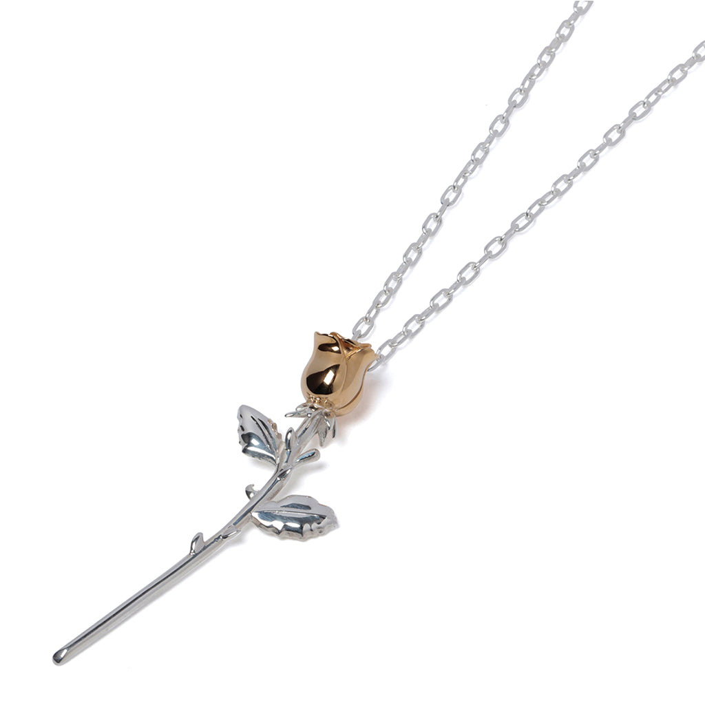 AMBUSH Rose Charm Necklace Silver