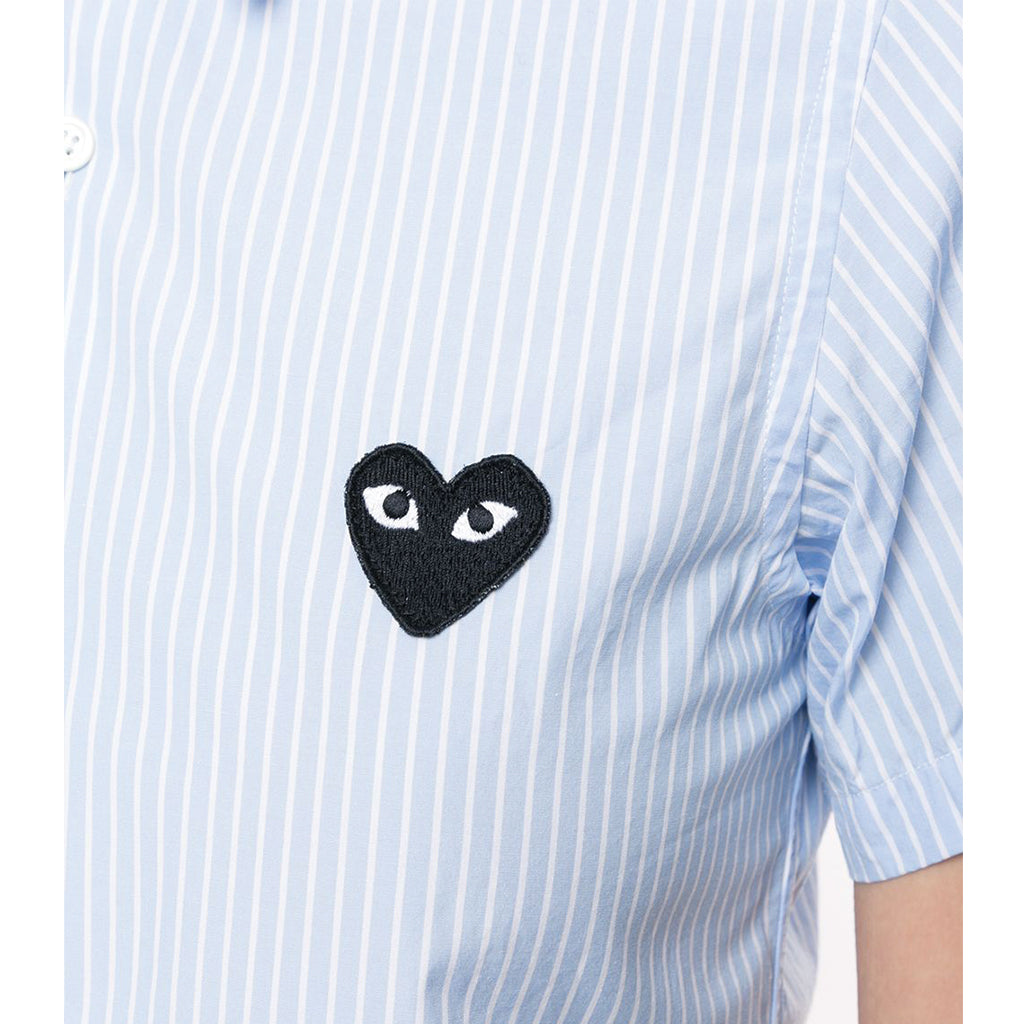 COMME des GARCONS PLAY Black Heart Blue Striped Short Sleeve Shirt