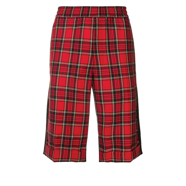 JohnUNDERCOVER Tartan / Plain Shorts Black / Red