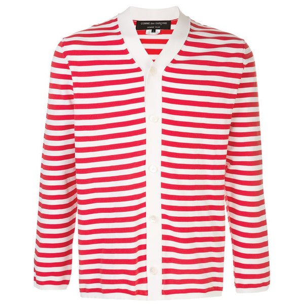Striped Cardigan Off White / Red