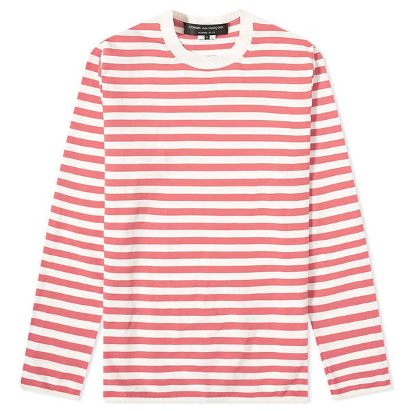 COMME des GARCONS Homme Plus Striped Pullover Off White / Pink PE-N013-051-1