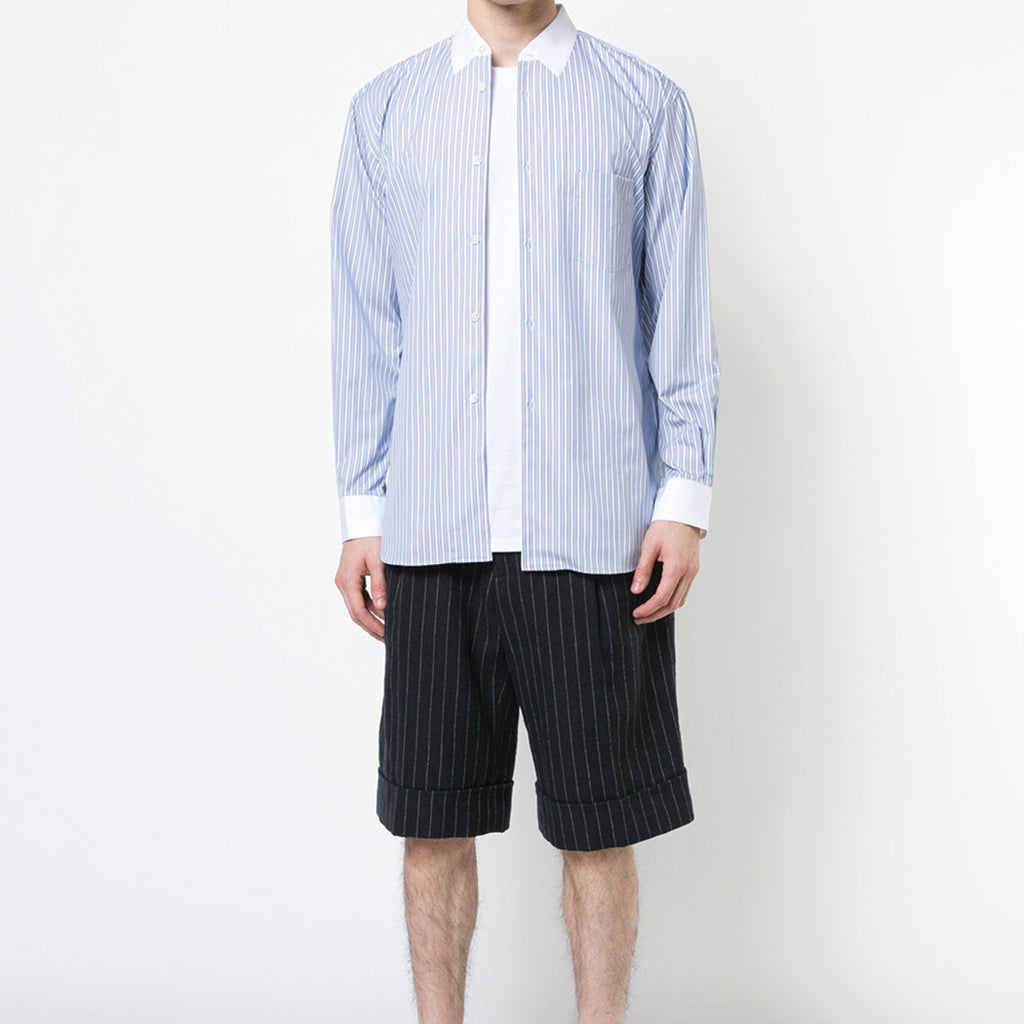 COMME des GARCONS SHIRT BOYS Light Blue / White Striped Shirt