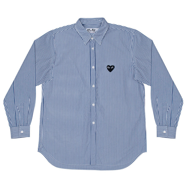 COMME des GARCONS PLAY Black Heart Striped Panel Shirt