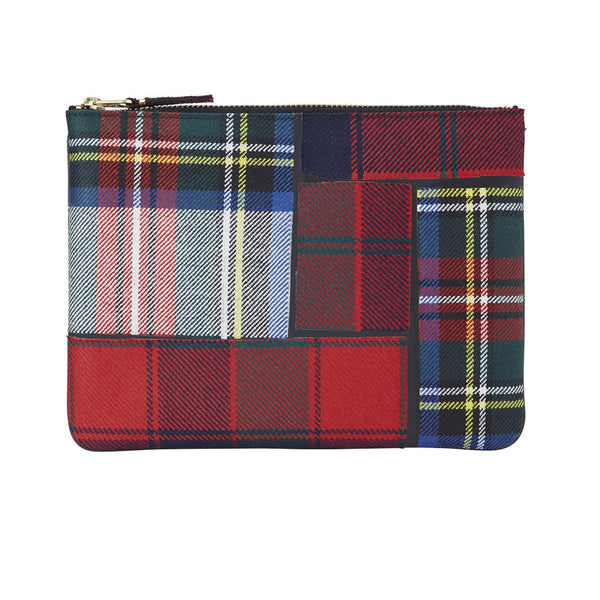 COMME des GARCONS WALLETS Tartan Patchwork Red SA2100TP