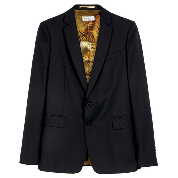 Dries van Noten Binch Jacket with Tiger Lining in Black