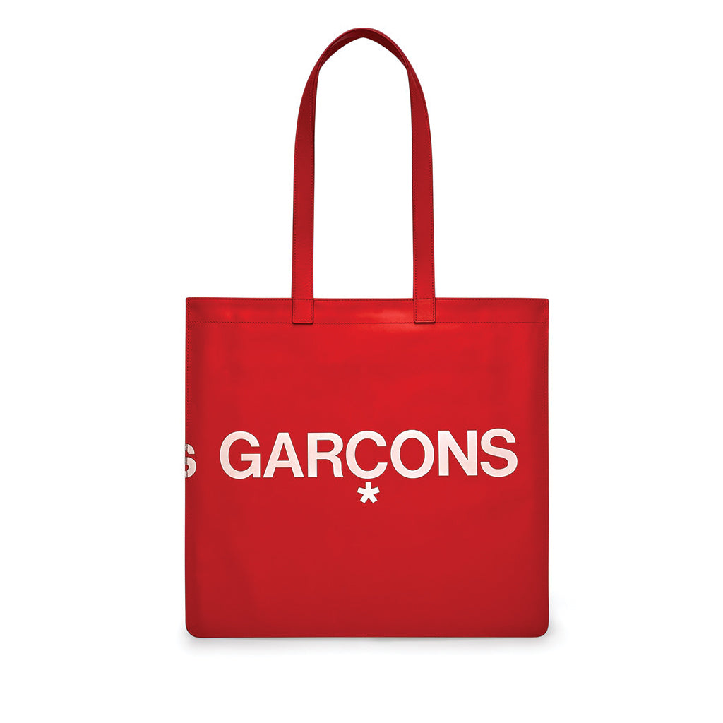 COMME des GARCONS Huge Logo Tote Bag Red