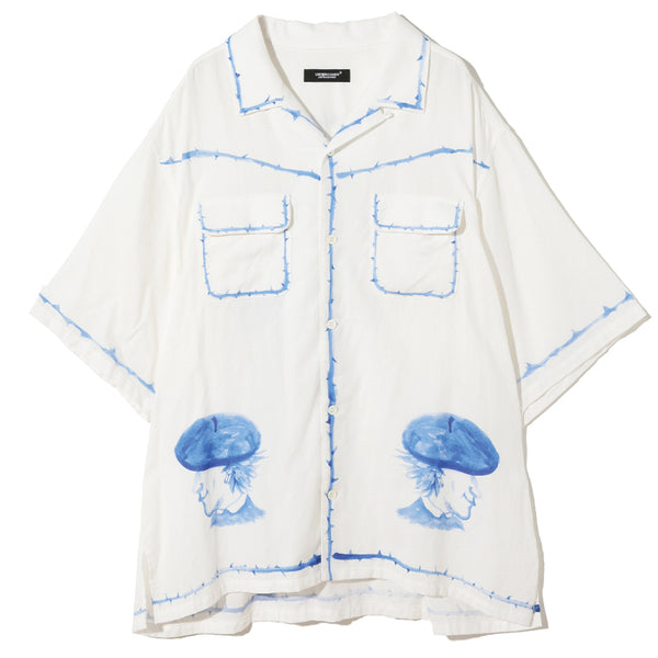 UNDERCOVER Jun Takahashi Blue Graphic Camp Collar Shirt White UC1A4411-1