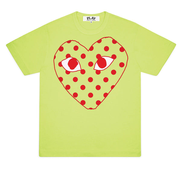 COMME des GARCONS PLAY Bright Polka Dot Logo T-Shirt Green