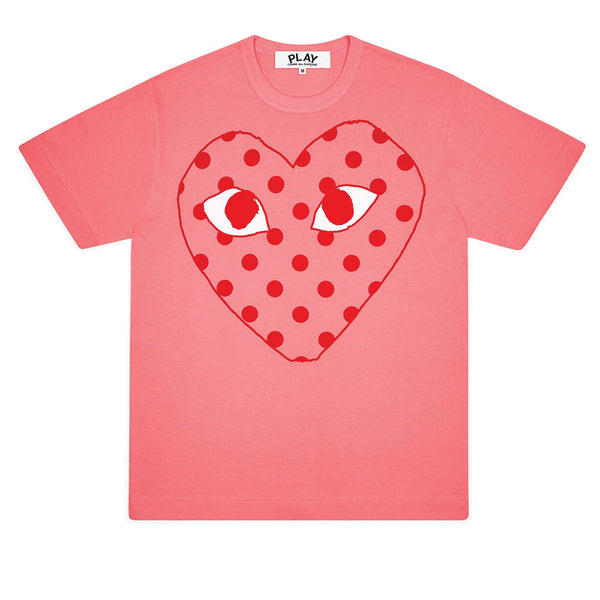 COMME des GARCONS PLAY Bright Polka Dot Logo T-Shirt Pink