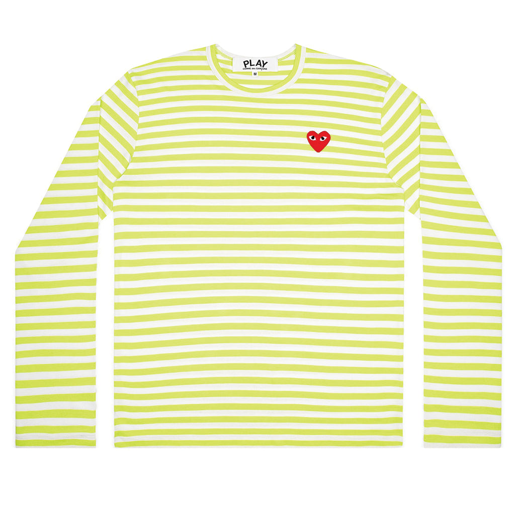 COMME des GARCONS PLAY Bright Striped Longsleeve Green / White