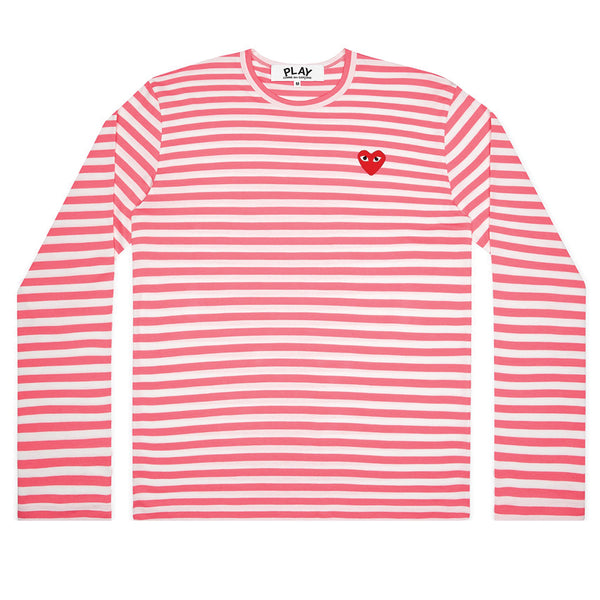 COMME des GARCONS PLAY Bright Striped Longsleeve Pink / White