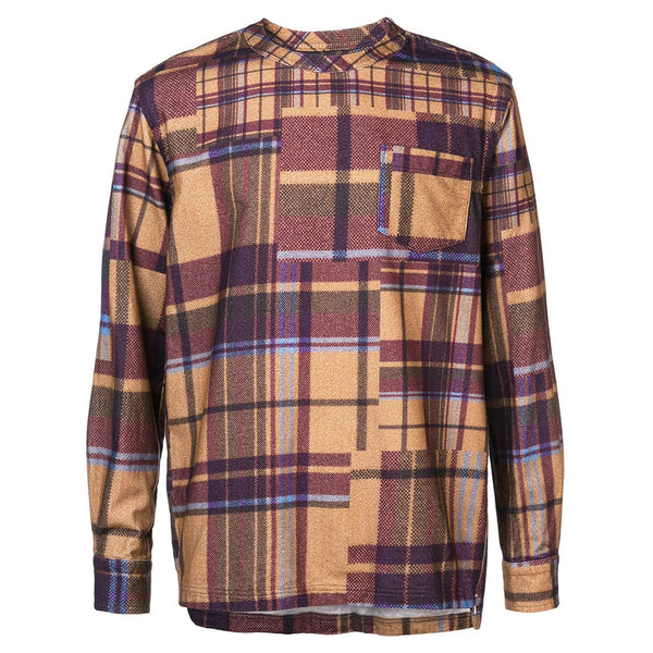 sacai Check Flannel Shirt Beige