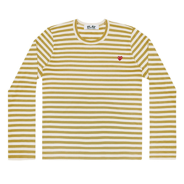 COMME des GARCONS PLAY Colour Series Striped Longsleeve Olive / White