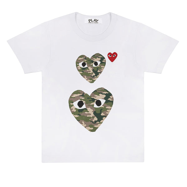 COMME des GARCONS PLAY Camouflage Double Heart T-Shirt