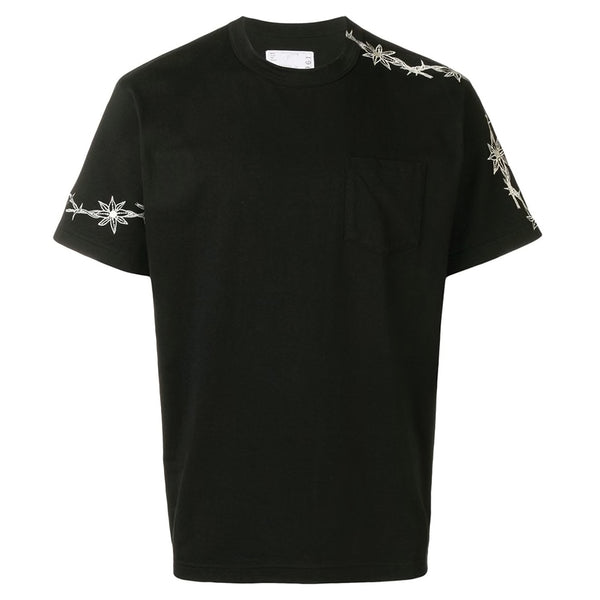 sacai x Dr. Woo Embroidered T-Shirt Black