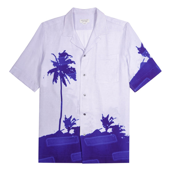 Dries van Noten Len Lye Palm Tree Carltone Shirt Blue