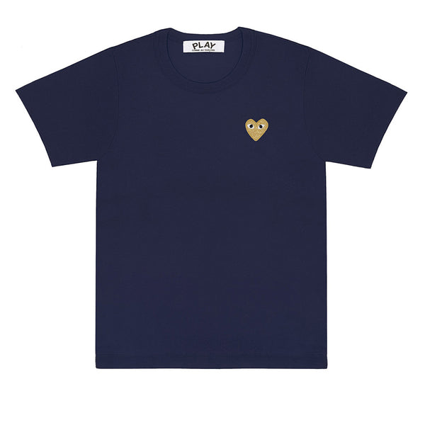 COMME des GARCONS PLAY Gold Heart T-Shirt Navy