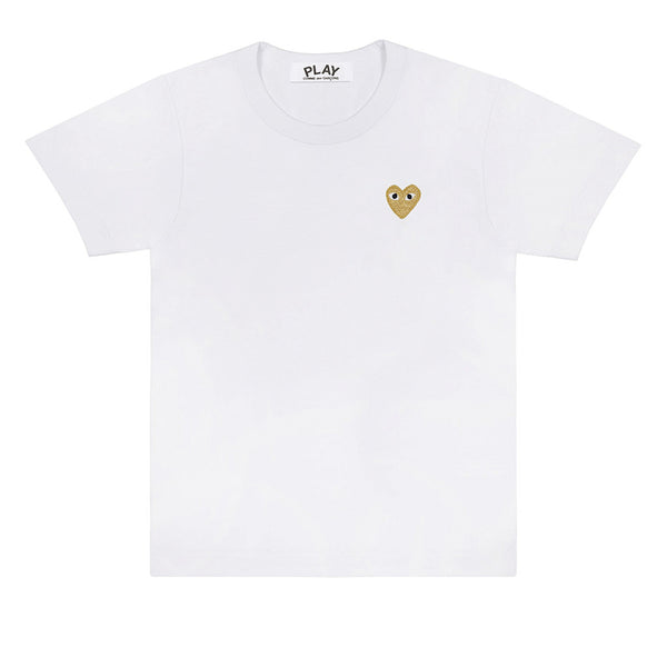 COMME des GARCONS PLAY Gold Heart T-Shirt White