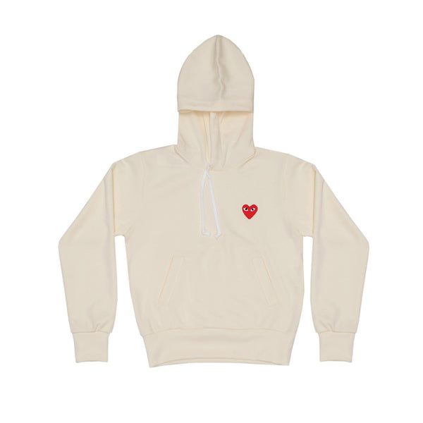 COMME des GARCONS PLAY Hooded Sweatshirt Ivory