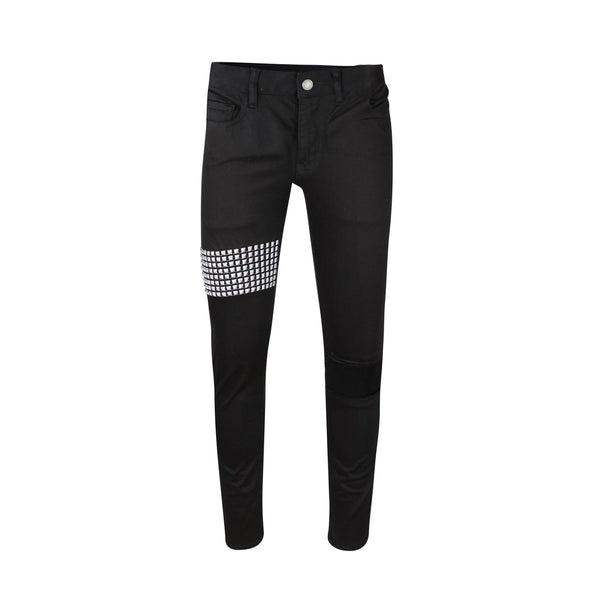 Studded Denim Pants Black