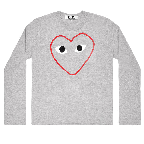 COMME des GARCONS PLAY Outlined Red Heart Longsleeve T-Shirt Grey
